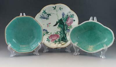 Antique Group of 3 Chinese Export Porcelain Dishes Famille Rose