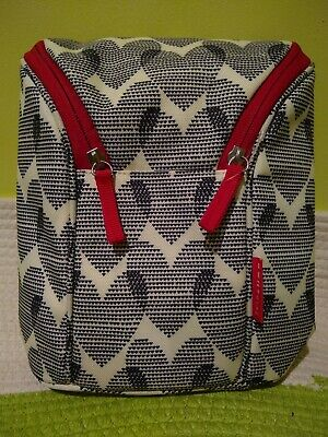 NEW Without Tags Skip Hop Double Bottle Bag Grey, White & Red Heart BPA Free