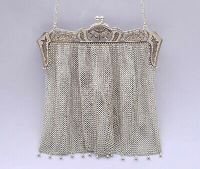 Beautiful Solid Silver Mesh Purse / Evening Bag