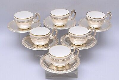 Lovely Set Of 6 Pieces Solid Silver Coffee Cups & Saucers