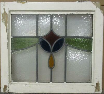 "OLD ENGLISH LEADED STAINED GLASS WINDOW Colorful Sweep Design 21.5"" x 19.25"""