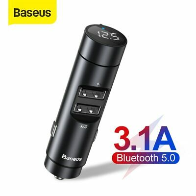 Baseus Bluetooth5.0 FM Transmitter Wireless USB Car Charger MP3 Player Accessory