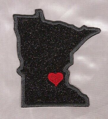 Embroidered Black Glitter Sparkle Tennessee TN Love State Patch Iron On Sew USA