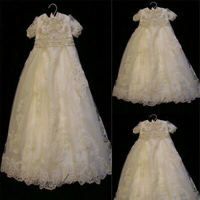 Luxury Baby Unisex Baptism Dresses Christening Gown Lace Beaded Pearl Ivory 3-6M