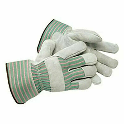 Leather Gloves w/Reinforced Palm Patch and Canvas Back, Safety Cuff various size
