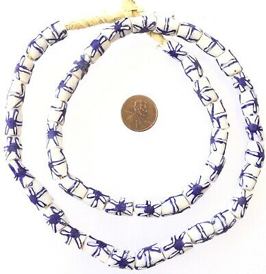 Made in Ghana Handmade recycled glass Blue-White African Trade beads-13x9m Ghana