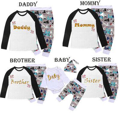 Christmas Family Matching Pyjamas PJS Set Women Men Kid Xmas Sleepwear Nightwear