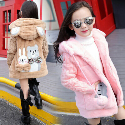 Girls Children Kids Hooded Winter Jacket Fluffy Overcoat Coat Outwear 5-10 Years