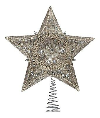 Kurt Adler Silver and Gold Beaded Star Tree Topper Holiday 13.5 Inches