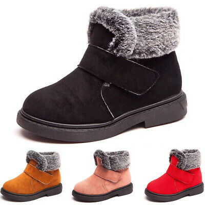 Boys Girls Fur Lined Snow Boots Children Kids Winter Warm Ankle Booties Shoes