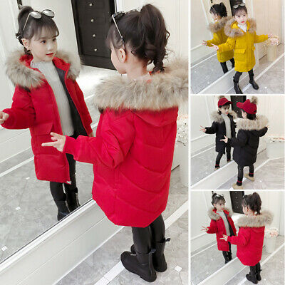 Girls Kids Padded Coat Winter Warm Jacket Puffer Fur Hooded Long Parka Coat 2020