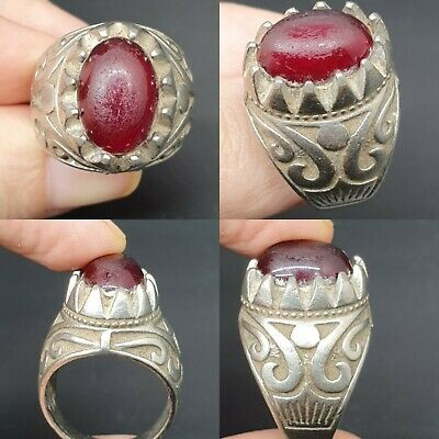 Wonderful ancient old red glass stone with silver plated  antique ring