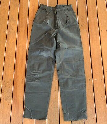 Vintage Genuine Leather Black Leather High Rise Pants Size 10