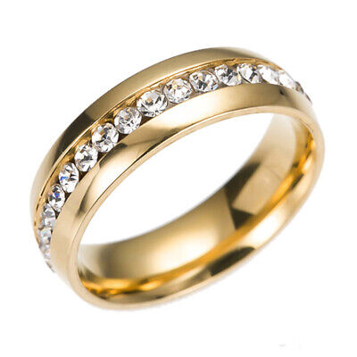 316L Stainless Steel Wedding Silver/Gold Band Men Women Couple CZ Ring Size 8