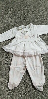 baby girls delicate pink & white iDO outfit age 3months