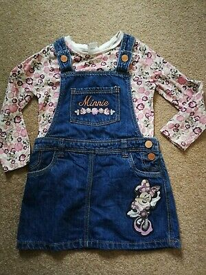 Age 3-4 Years Girls Minnie Mouse Dungaree Dress Outfit