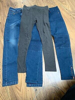 Girls Trousers Age 10-11 Years Bundle X 3 - 2 Jeans & 1 Legging