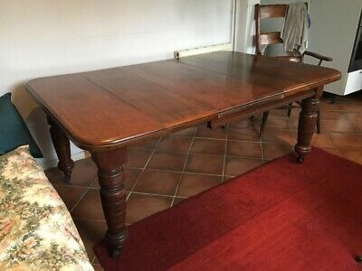 Antique Victorian / Edwardian Mahogany Extendable Extending Wind Up Dining Table