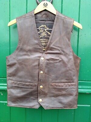 """Vintage Mens Leather Waistcoat. Brown. 40"""" chest"""