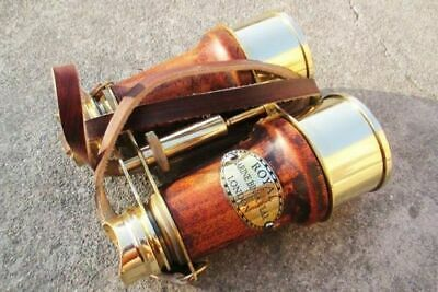 "6"" Nautical Vintage Maritime Victorian Brass Spyglass Leather Binocular Gift"