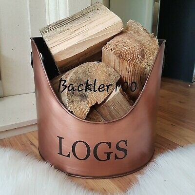 Metal LOGS HOLDER aged copper colour fireside hearth display bucket