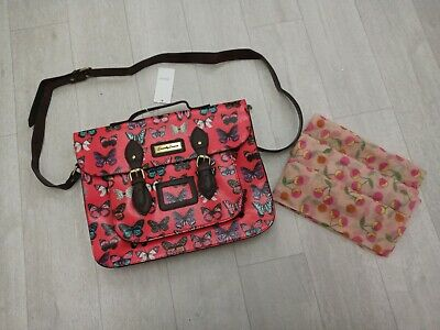 Girls Butterfly Print Pink Satchel+Pink winter scarf With Cherry Print