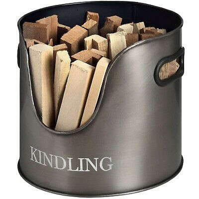 Metal KINDLING HOLDER aged pewter silver colour fireside hearth display bucket