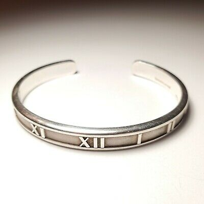 Tiffany & Co 1995 Sterling Silver 7mm Atlas Bangle Cuff Bracelet Italy