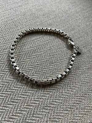 Tiffany & Co Venetian Box Chain Link Bracelet 925 Sterling Silver Authentic 7.75