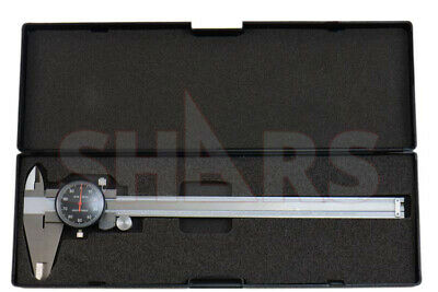 """8"""" Dial Caliper .001"""" Shock Proof Stainless 4 Way Black Face + Inspection Report"""