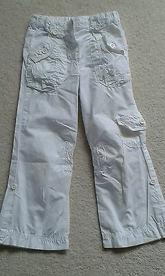Girls Marks and Spencer White Cotton Trousers Cargoes age 2-3 years