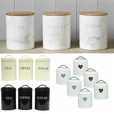 Set of 3 Tea Coffee Sugar Canisters Jars Storage Air Tight Container Kitchen