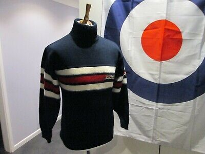 Fila Roll Neck Jumper Blue / Red / White  Small Retro Mod Styling