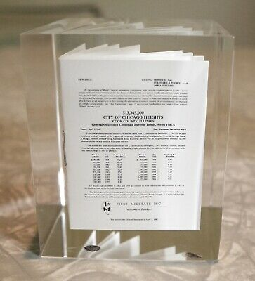 1987 CHICAGO HEIGHTS Illinois miniature bonds document IN LUCITE paperweight NM