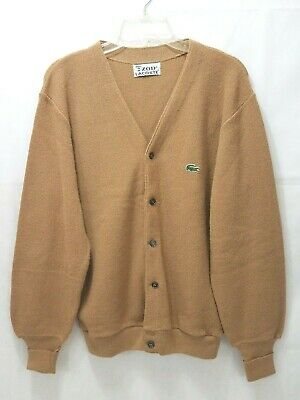 Izod Lacoste Vintage Cardigan Sweater - Light Brown Mens Size Medium Acrylic