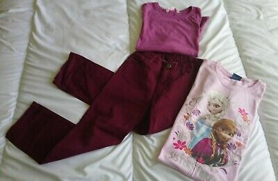 Girls,   Plum Burgundy Jeans And 2 Tops. Frozen Top.  Age  7 - 8 Years.