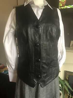 Ladies Black Real Soft Leather Waistcoat Size 12-  (Planet Brand)  -  Vgc