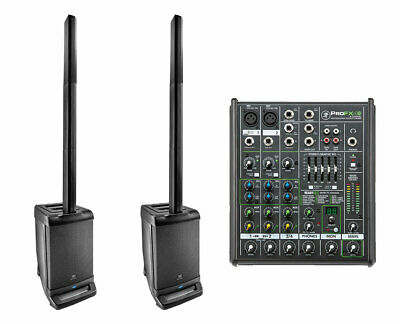 2x JBL EON ONE Linear Array P/A Speaker + Mackie ProFX4 V2 4-Channel Mixer