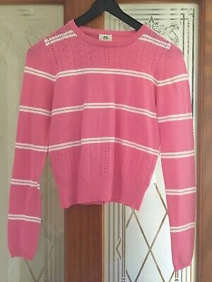 River Island pink and white jumper aged 9/10 great condition