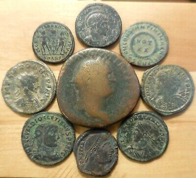 Lot of 8 VF-VF+ Ancient Roman Coins, Plus a 31mm, 21g, Vespasian Sestertius!
