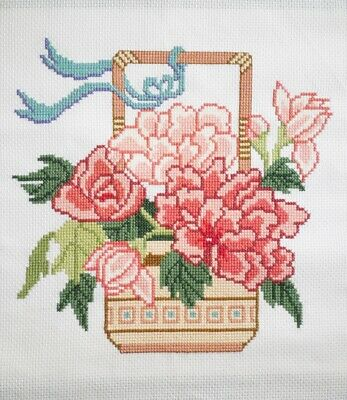 Completed Cross Stitch Picture  Peony Flower Basket (postage can be cheaper)