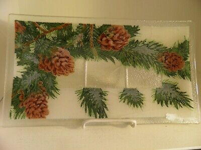 """Peggy Karr Fused Glass  Pinecone Platter EUC 14"""" Winter Pine Cone Plate"""