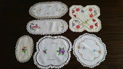 6 vintage hand embroidered doilies – hand crochet and lace borders