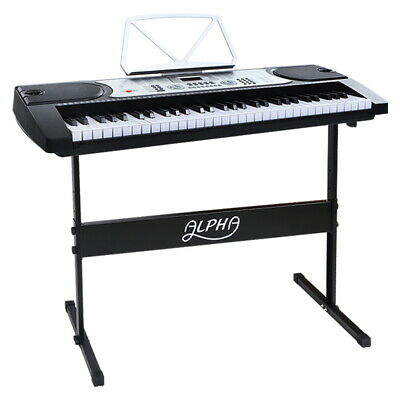 Alpha 61 Keys Electronic Piano Keyboard LED Electric Silver with Music Stand for