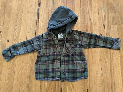 Quiksilver Toddler Flannie Hooded Olive Green Sz 2