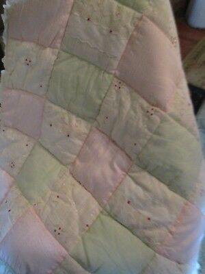 Kidsline Baby Comforter Patchwork Quilt & crib dust ruffle Ivory PInk Green Girl