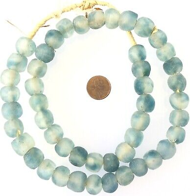 Sky Blue Multi Made in Ghana Recycled glass African trade beads-Ghana-14m