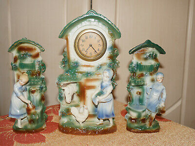 3 d ceramic antique vintage mechanical clock set garniture headset with 2 vases