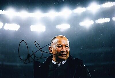 Eddie Jones Signed 12X8 Photo England RUGBY Coach AFTAL COA (F)