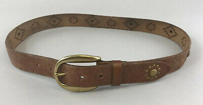 Polo Ralph Lauren Brown Leather Jeans Trouser Casual Studded Buckle Belt Size S